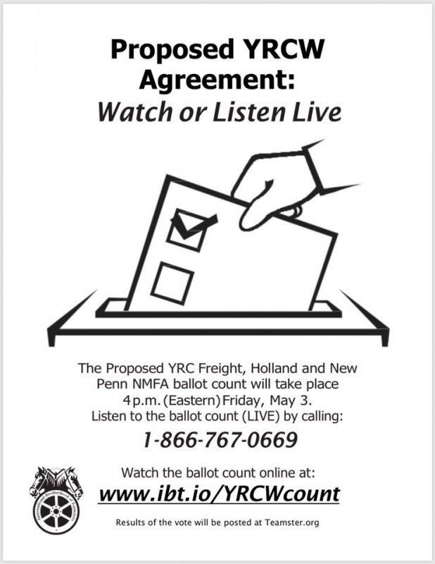Teamsters Local 120 Proposed YRCW Agreement Ballot Count
