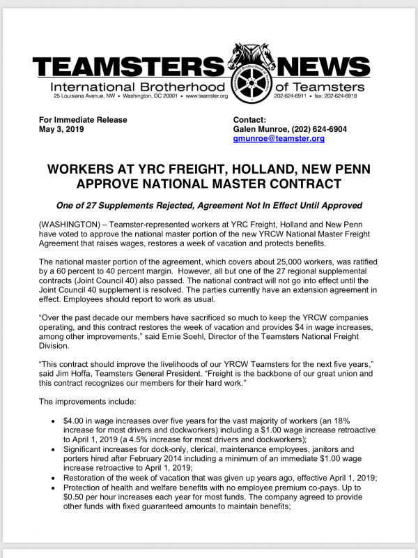 Teamsters Local 120 WORKERS AT YRC FREIGHT, HOLLAND, NEW